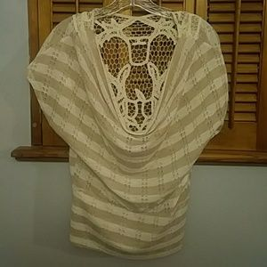 Cute shirt scoop front with lace back